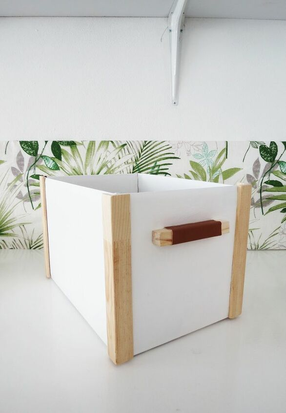 turn a coardboard box into a pretty storage