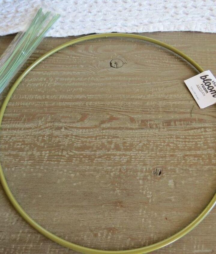 making a hoop wreath