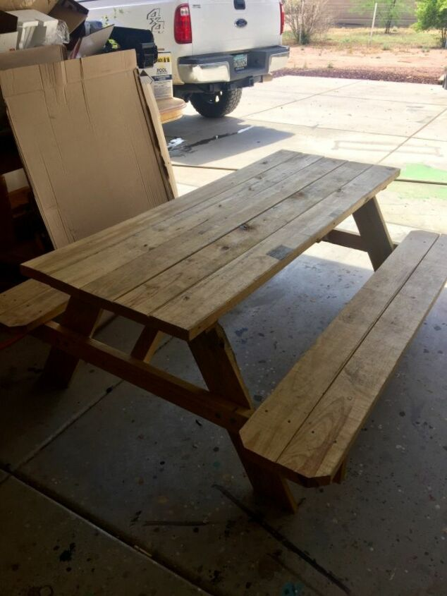 Miraculous How To Stain A Lowes Picnic Table Makeover Memaws Way Diy Download Free Architecture Designs Terstmadebymaigaardcom