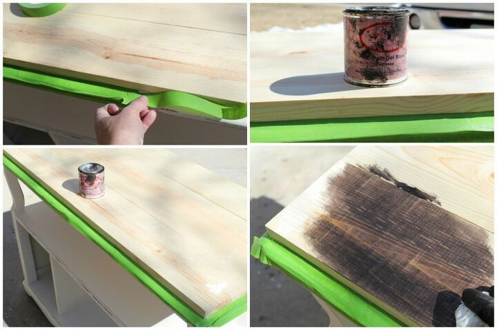 how to easily transform a boring sofa table into a farmhouse gem