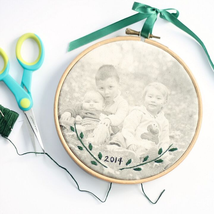 s embroidery ideas, Add Embroidery to a Photo Transfer