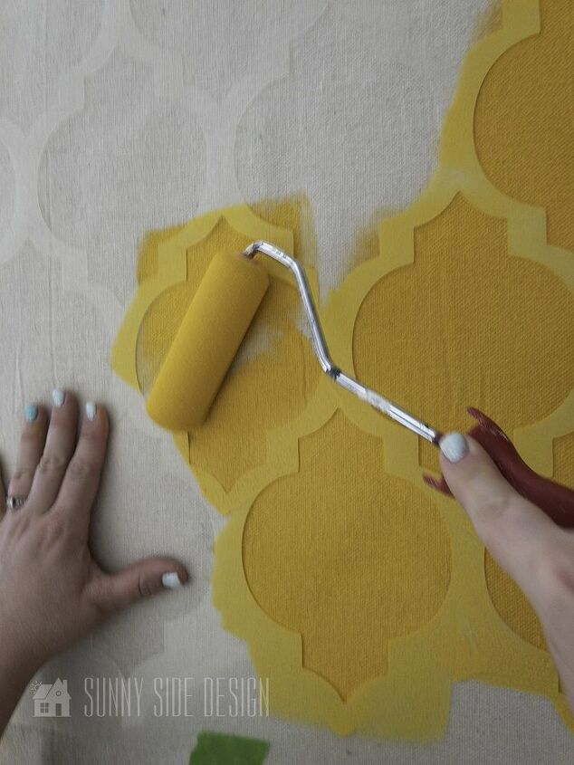 how to paint curtains with a stencil
