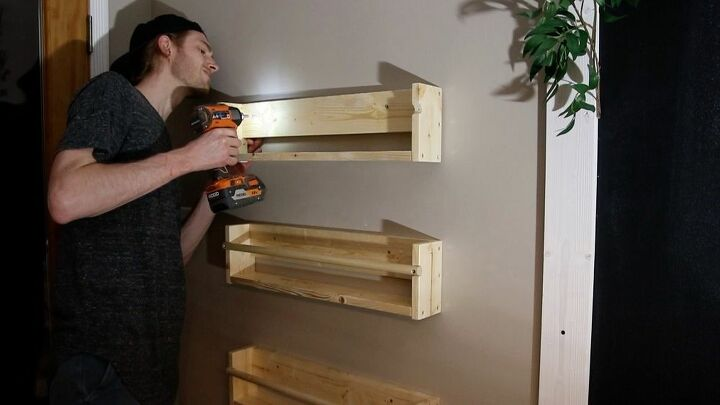 Attaching the shelves to the wall