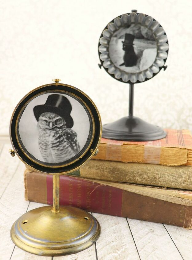 upcycled items turned into photo frames and holders