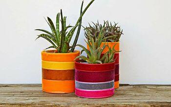 Boho Upcycled Velvet Planters