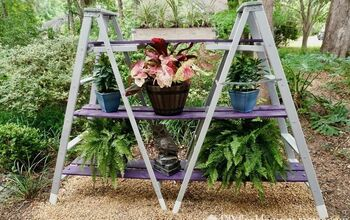 DIY Double A-Frame Ladder Outdoor Plant Stand