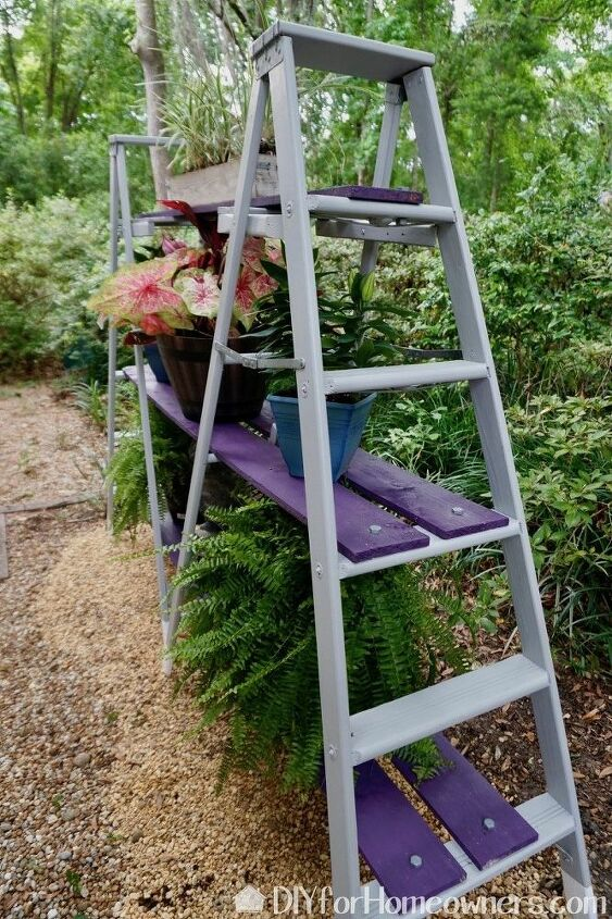diy double a frame ladder outdoor plant stand