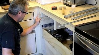 q how to put sliders on kitchen drawers