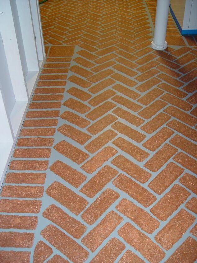 faux bricks on concrete floors