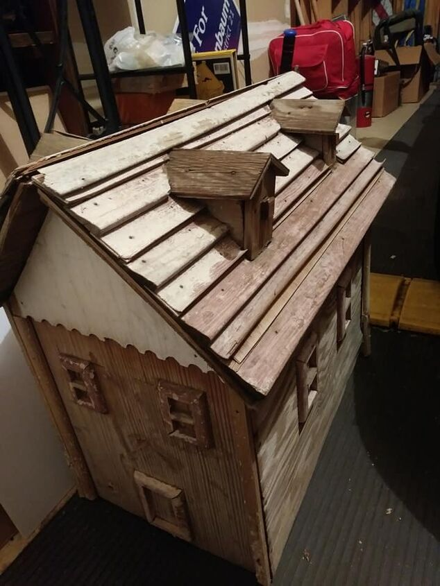 q how to refinish this thin wood doll house