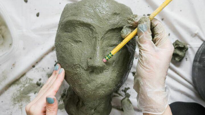 diy concrete head planters for your garden