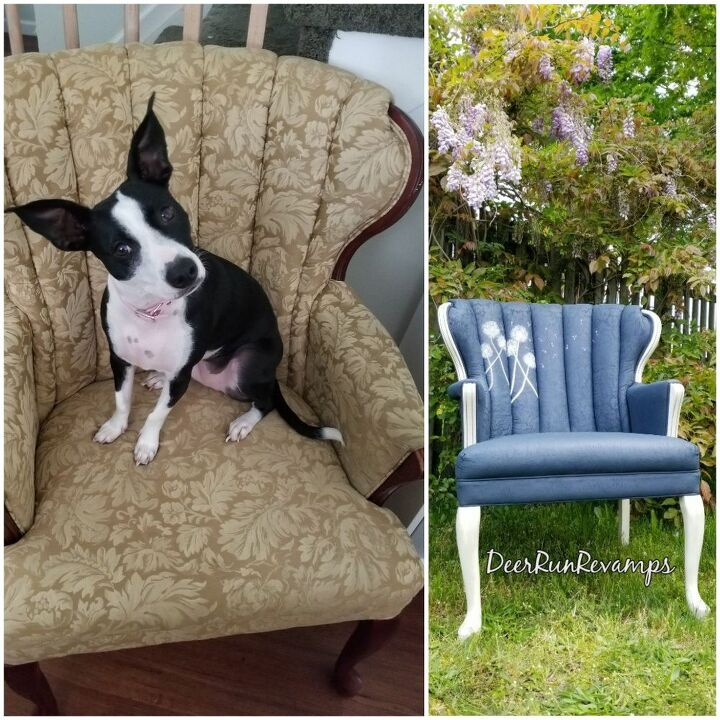 vintage chair chalk painted with hand painted dandelions video