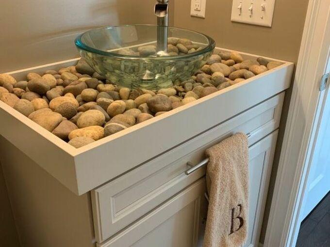 diy river rock bathroom counter and vessel sink