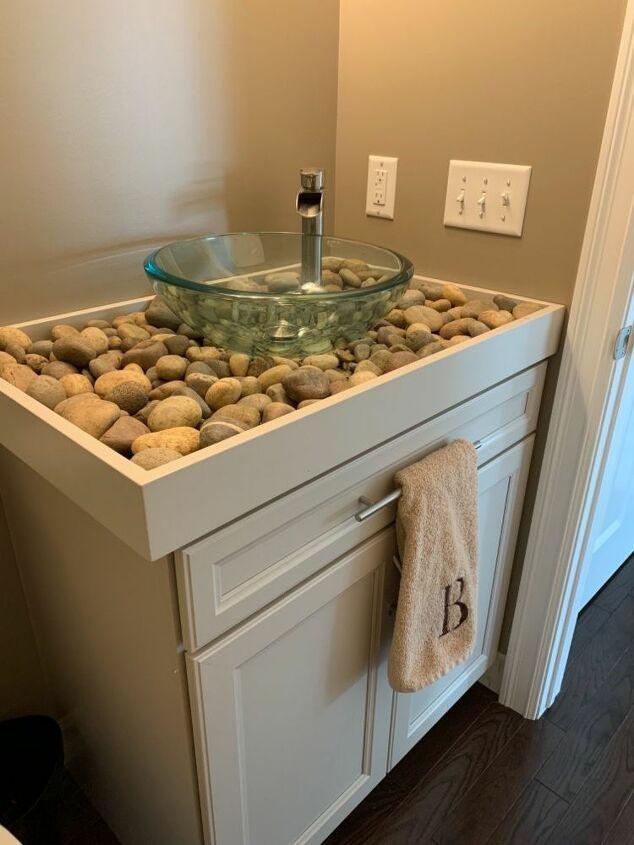 Diy River Rock Bathroom Counter