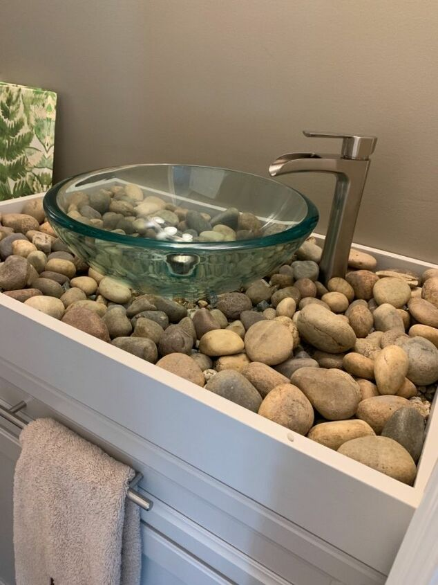 How To Make A Diy River Rock Bathroom Counter And Vessel