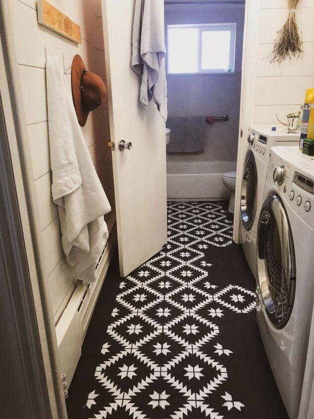 stenciled tile floor
