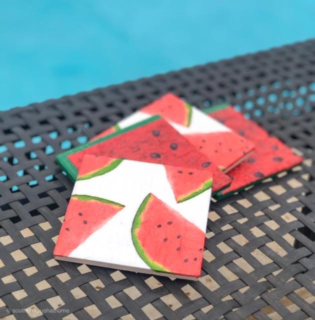 diy watermelon coasters