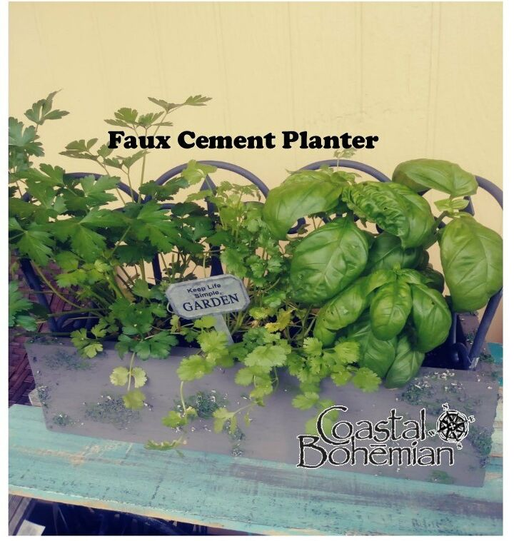 upcycled faux cement planter