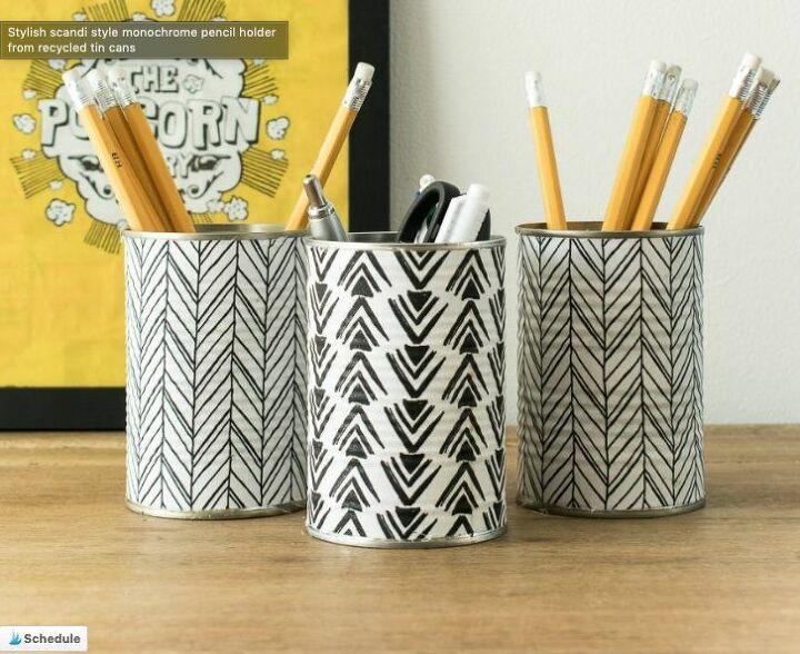 diy tin fabric pencil holder