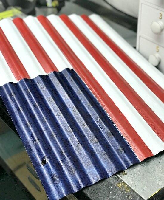 corrugated metal american flag