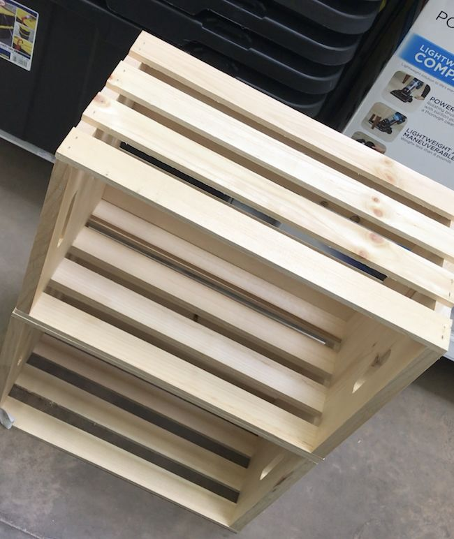 simple diy wooden crate shelf for our guest bathroom