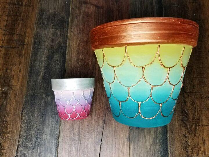diy embossed mermaid flower pots
