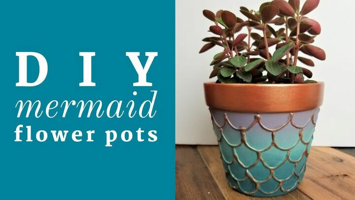 diy embossed mermaid flower pots