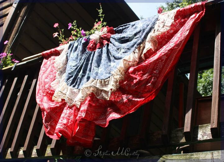 american holiday bunting from thrift shop fabric