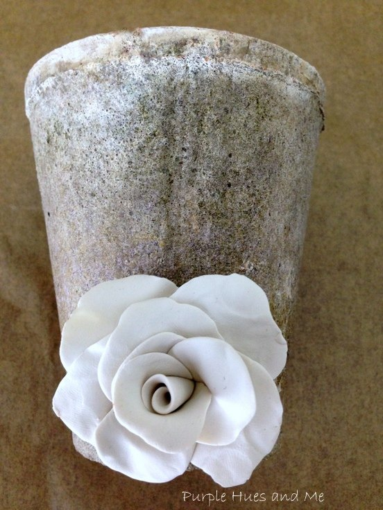 upcycle a thrift store vase with clay roses