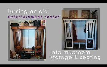 Entertainment Center Becomes Mudroom Storage/seating