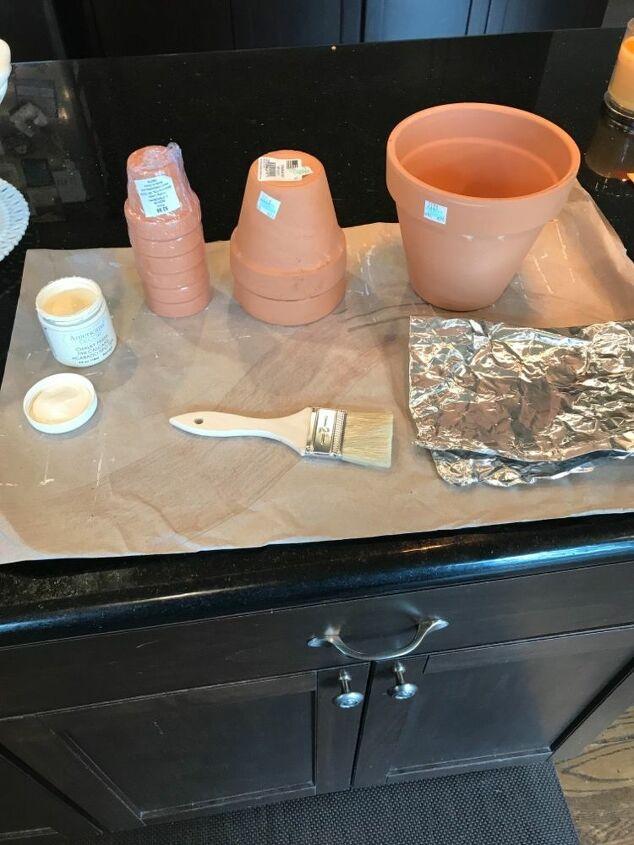 distressed terra cotta pots