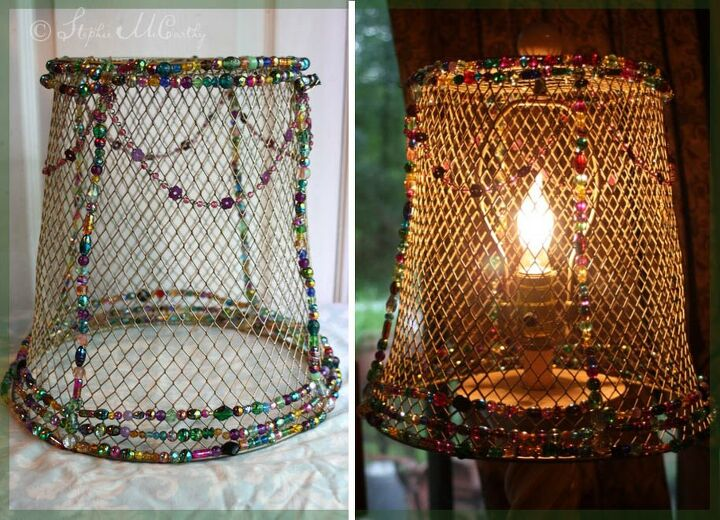 easy beaded basket lampshade