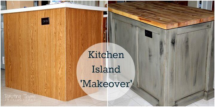 simple wooden kitchen island