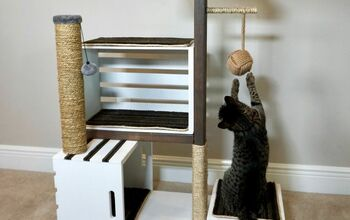 How to Make a Wood Crate Cat Tower With Bonus Cat Toy Storage