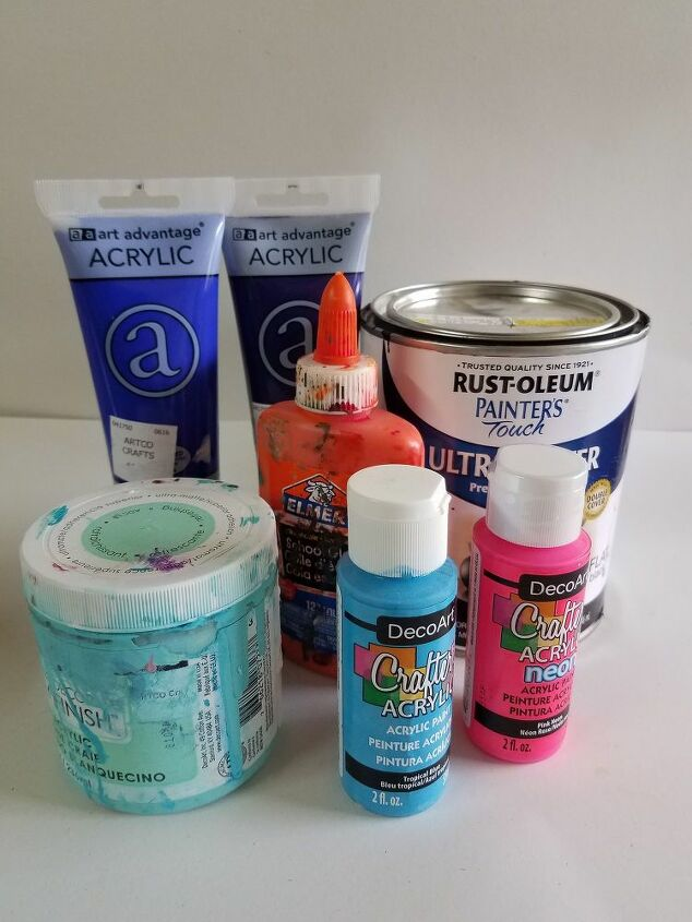 Grab your paint colors!Any water based paint.