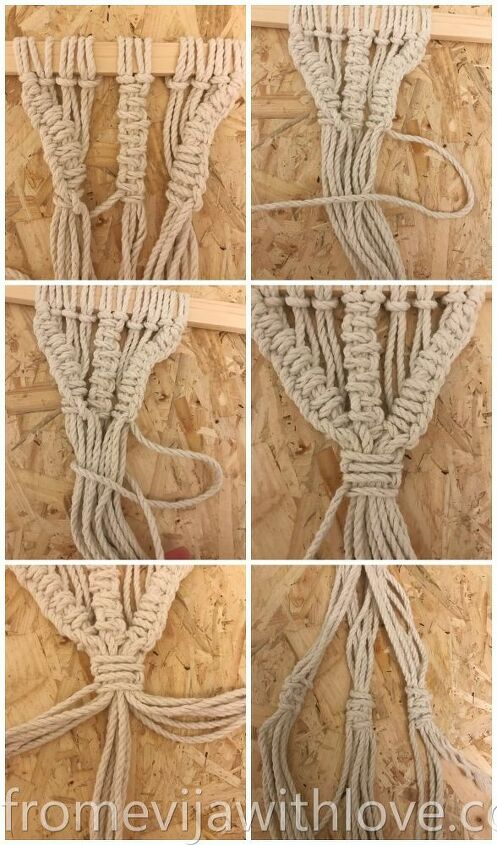 create a beautiful macrame wall hanging plant holder using two knots