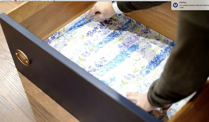 lining drawers with gift wrap paper