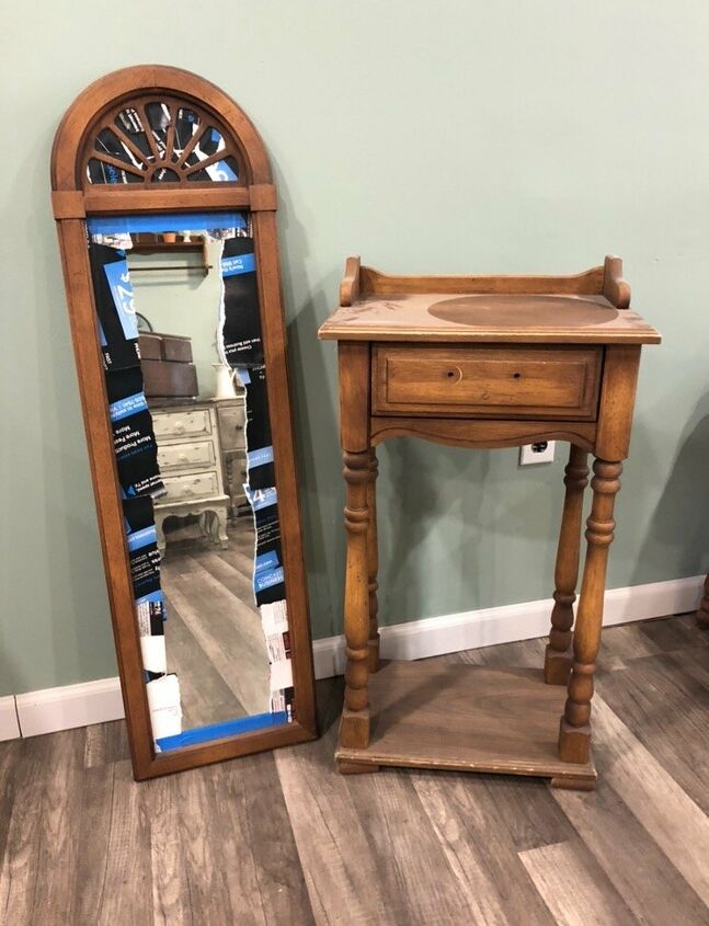 The Before - Old oak table & mirror