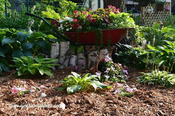 use repurposed junk to add character to your gardens