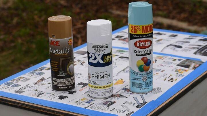 vintage metal desk makeover spray painted furniture