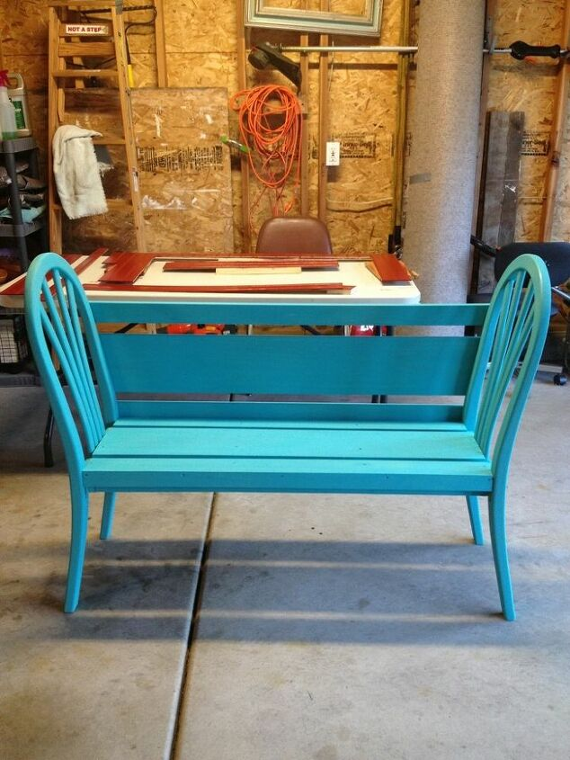 Two coats of teal paint