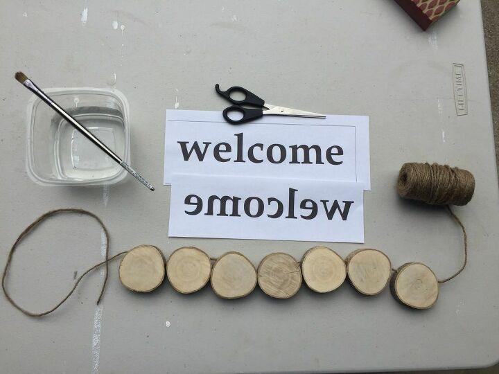 welcome door sign from wood slices