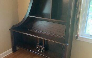 Piano Repurposed Into a Bookcase.