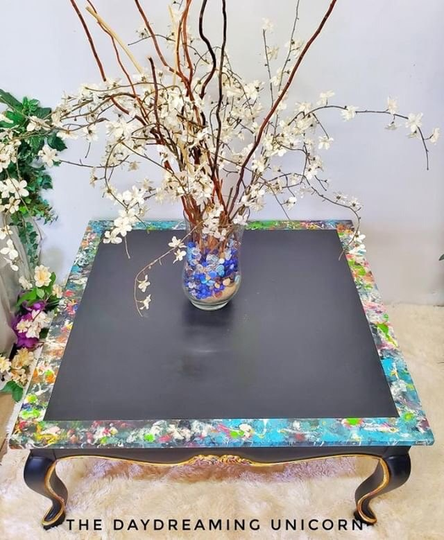 how to paint pour furniture piece