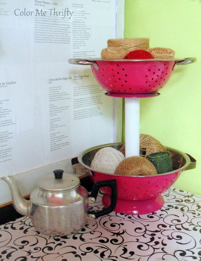 turn strainers into tiered stand storage