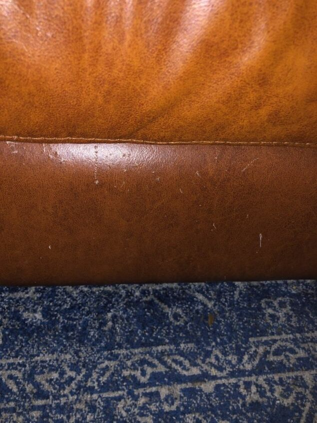 q how do i repair minor scratches on a leather sofa along the bottom