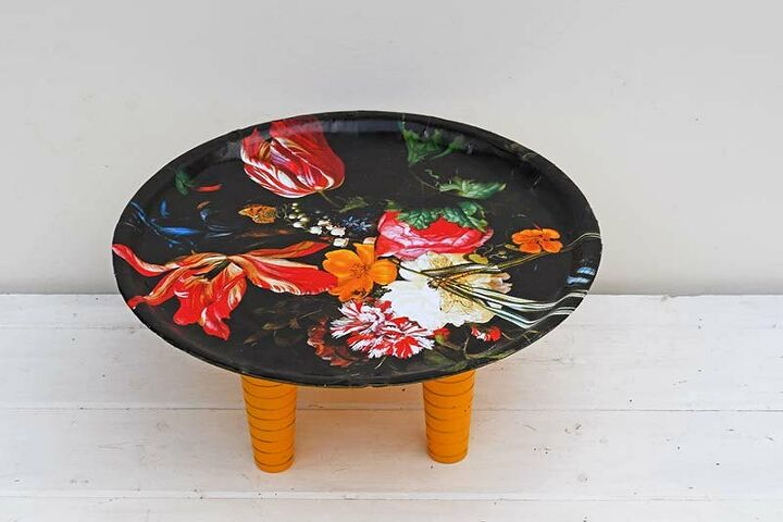 dutch master upcycled floral tray table