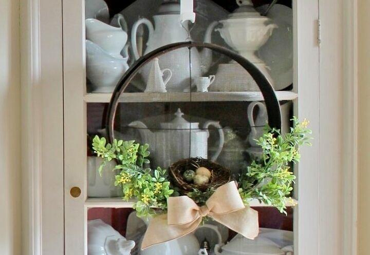 antique wooden sieve farmhouse wreath