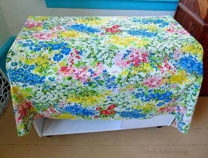 desk makeover with repurposed tablecloth