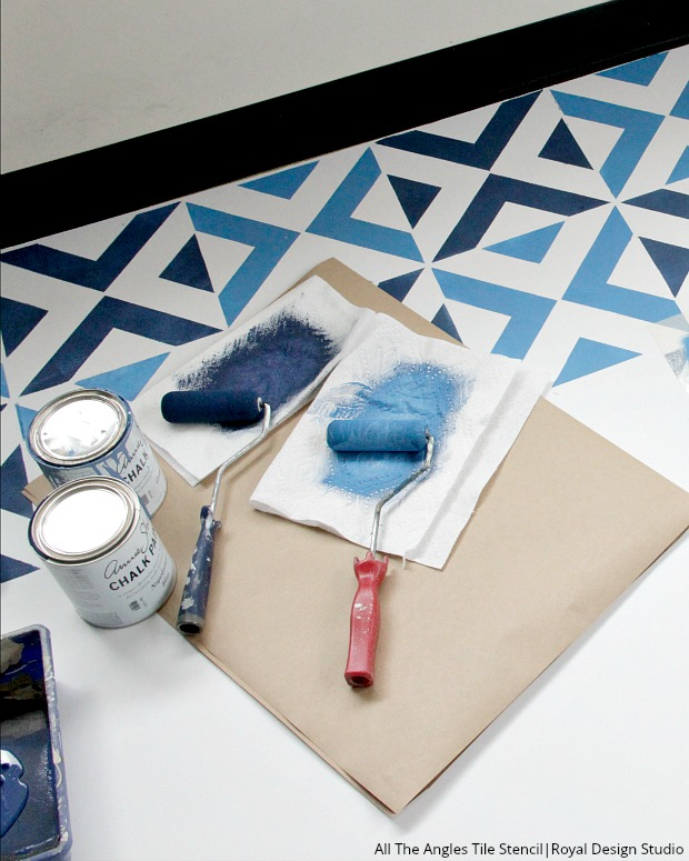 how to stencil a boho blue tile floor